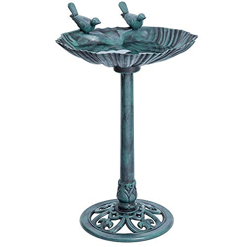 VIVOHOME 28 Inch Height Polyresin Lightweight Outdoor Double Birds Garden Bird Bath Green