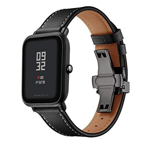 XZZTX Horlogeband Compatibel met Amazfit Bip GTS/Galaxy Horloge Actief/Galaxy Horloge 42mm/Garmin Vivoactive 3 Smartwatch, 20mm Lederen Band Vervangende Polsband