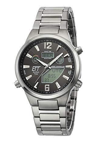 ETT Eco Tech Time Funk Solar Herren Uhr Analog mit Titan Armband EGT-11380-20M