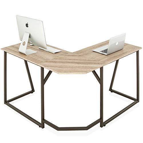 FITUEYES Computertisch Holz Eiche L-förmiger Schreibtisch Workstation für Haus Büro 125x125x75cm LCD112506WO