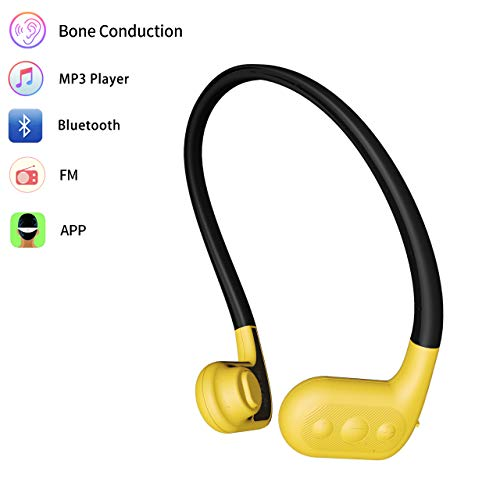 Tayogo 8GB Waterproof MP3 Player Bone Conduction Bluetooth Swimming Headphones Support FM APP with Shuffle Feature - Yellow
