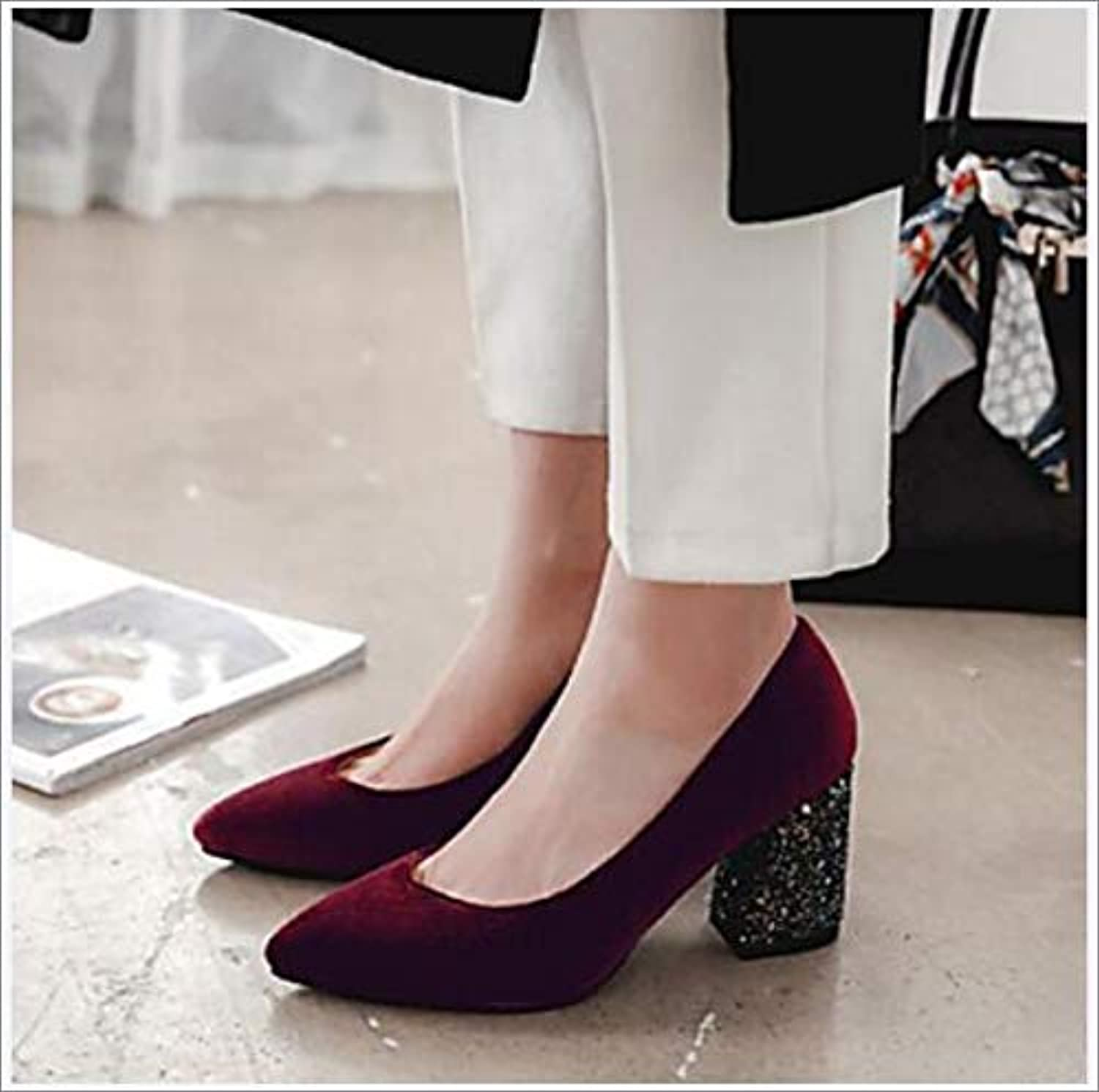 Women's shoes Suede Spring & Summer Basic Pump Heels Chunky Heel Pointed Toe Sequin Party & Evening,B,US11.5 EU43 UK9.5 CN45