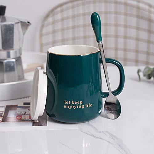 Heliansheng Taza de Desayuno Taza de café Universal para el hogar para Parejas Taza de cerámica Universal para Estudiantes de Color Puro -Verde-400ml-G149