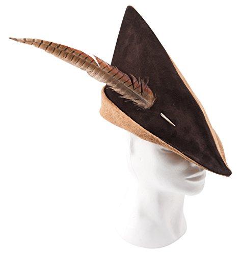 Fantashion K 73–Puntiaguda Sombrero de Piel, Robin Hood–Gorro, Color marrón Claro/Color marrón Oscuro