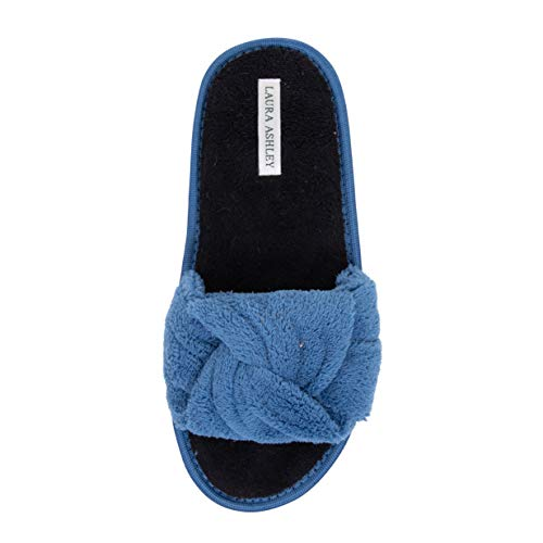 Laura Ashley Ladies Terry Knot Slippers Blue