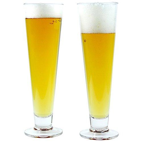 mikken 2 x bruchfestes Bierglas ca. 390 ml, Cocktailglas, Longdrinkglas, Gläser Set aus hochwertigem Kunststoff (Polycarbonat), edle Gläser für Camping, Partys (wie echtes Glas)