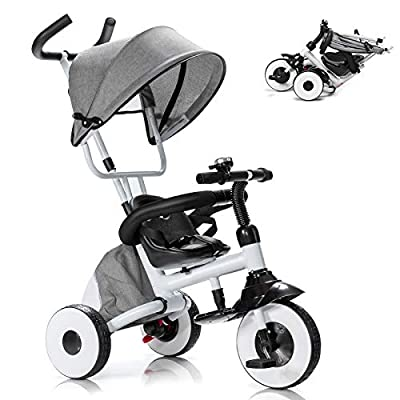 Baby Joy Tricycle for Toddlers, Folding Trike w/Adjustable Parent Handle, Canopy, Storage Bag, Safety Harness & Wheel Brakes, Baby Push Tricycle Stroller for Kids Boys Girls Aged 1-5 Years Old (Gray) from BABY JOY