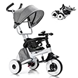 Baby Joy Tricycle for Toddlers, Folding Trike w/Adjustable Parent Handle, Canopy, Storage Bag, Safety Harness & Wheel Brakes, Baby Push Tricycle Stroller for Kids Boys Girls Aged 1-5 Years Old (Gray)