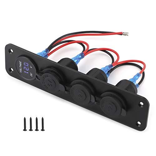 KIMISS Panel de toma de cargador, 12V Car Power Dual USB Port Cargador Panel Voltímetro multifunción 4.8A Universal para coche barco