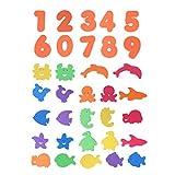 NUOBESTY 34 STÜCK Schaumbad Spielzeug Anzahl Schaum Aufkleber Pädagogisches Badewannenspielzeug für Baby Kleinkinder Kinder