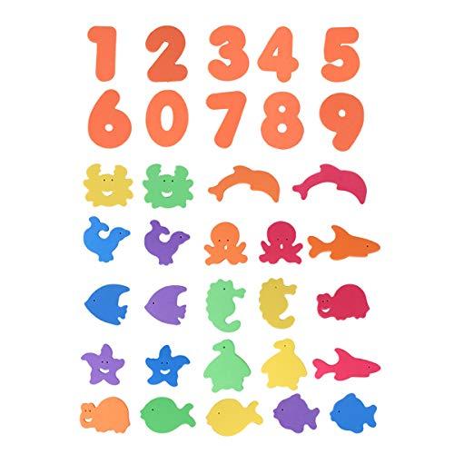 Toyvian - Pegatinas de ducha de cuarto de baño, 34 unidades, número de peces marinos, animales no tóxicos, EVA autoadhesivas, de espuma, juguetes educativos para niños
