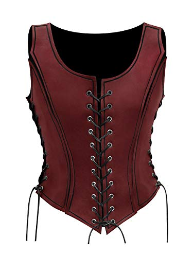 Andracor - Frauen Lederrüstung Rüstmieder aus echtem Leder - Corsage mit Trägern für LARP, Mittelalter, Steampunk, Gothic - Rot XS-XXL