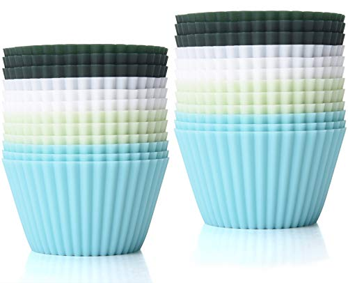 TeaRoo Silicone Baking Cups, Reusable 24 Pack Cupcake Liners Muffin Cups Nonstick Standard Size Cupcake Holder Molds Muffins Cup Molds