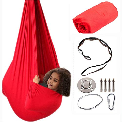 Therapy Swing for Kids with Special Needs (Hardware Included) Snuggle Swing Cuddle Hammock Indoor Adjustable Aerial Yoga for Children with Autism, ADHD, Aspergers, Sensory Integration (Red)