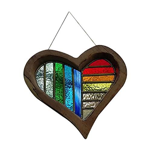 LOVIVER Adorno de iris colgante, colgante de candelabro de reflexión en forma de corazón, para oficina en casa, coche, jardín, ventana, árboles
