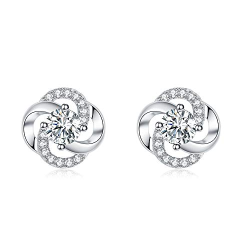 PRETTERY Sterling Silver Stud Earrings, Satellite 5A Cubic Zirconia Clover Flower Studs Earrings for Women, Gift for her