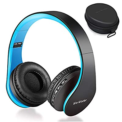 Wireless Bluetooth Over Ear Stereo Foldable Headphones, Wireless and Wired Mode Headsets with Soft Memory-Protein Earmuffs, Built-in Mic for Mobile Phone TV PC Laptop Black-Blue by Worwoder