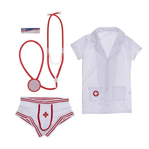 Bonarty Männer Krankenschwester Sexy Rollenspiel Kostüm Tanga Bar Outfit Set Homosexuell Dessous Prop