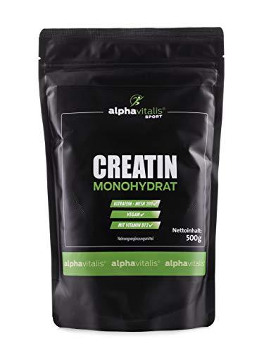Creatin Monohydrat Pulver - 500g Premium Creatine mit Mesh 200 und Vitamin B12 als fein-kristallines Pulver - Für Bodybuilding und Fitness von alphavitalis SPORT