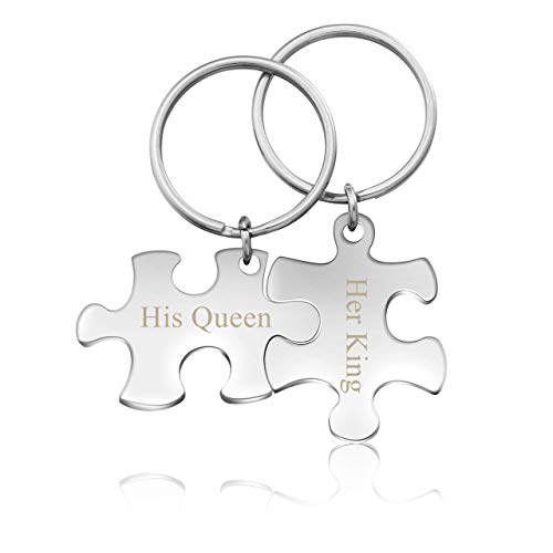 Zysta Personalised Keyring Puzzle Matching Keyrings for Wome Men Couples...