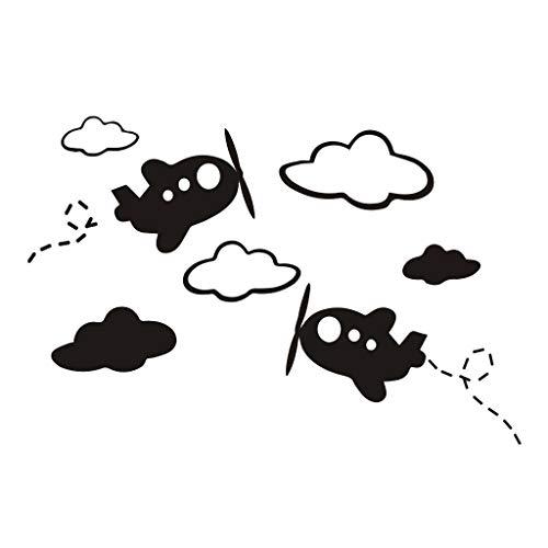 Muursticker Witte Wolken Vliegtuig Wandsticker For Kids Kamers Kunstachtergrond Wall Stickers Decor Van Het Huis Living Room Mural Decals 31x42cm