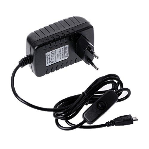 BIlinli Cable de botón de Interruptor de Carga USB de Adaptador de alimentación de 5V 3A para Raspberry Pi 3 Modelo B