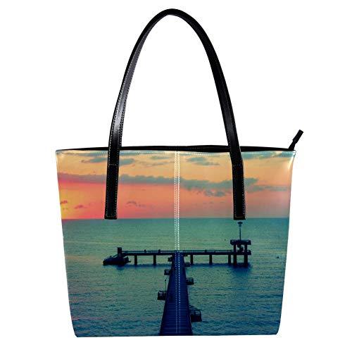 Women's Bag Shoulder Tote handbag with Burgas Sunset Bridge Sea Print Zipper Purse PU Leather Top-handle Zip Bags