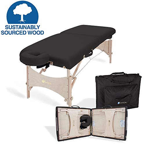 EARTHLITE Portable Massage Table HARMONY DX – Eco-Friendly Design, Hard Maple, Superior Comfort, Deluxe Adjustable Face Cradle, Heavy-Duty Carry Case (30' x 73'), Black