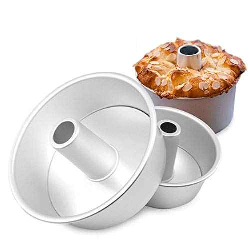 AMOYER 1pc Aluminum Chiffon Cake Baking Mold Metal Round Hollow Chiffon Cake Mold Non-Stick Cake Bread Pan with Removable Bottom Bakeware(6inch)