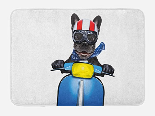Ambesonne Dog Driver Bath Mat, Quirky French Bulldog on a Scooter with Goggles Rocker Puppy, Plush Bathroom Decor Mat with Non Slip Backing, 29.5' X 17.5', Charcoal Grey