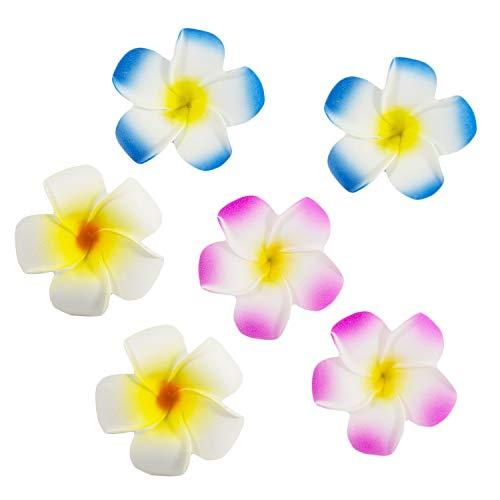Oblique Unique® 6 Blumen Haarspangen Haarclips Haarschmuck Accessoires Sommer Garten Strand Hawaii Party Feier JGA Hochzeit Karneval Fasching - Farbe Wählbar (Farbmix)