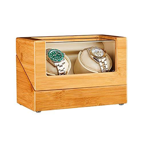 LLSS Caja enrolladora de Reloj Doble automática 100% Madera de bambú 5 Modos de rotación Motores Qiuet Adaptador de CA y Accesorios a batería