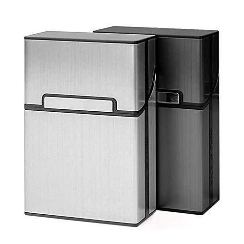 RUI - K25 Caja De Cigarrillos Ligera De 2 Piezas, Soporte De Caja De Cigarrillos De Aluminio Gris Plateado
