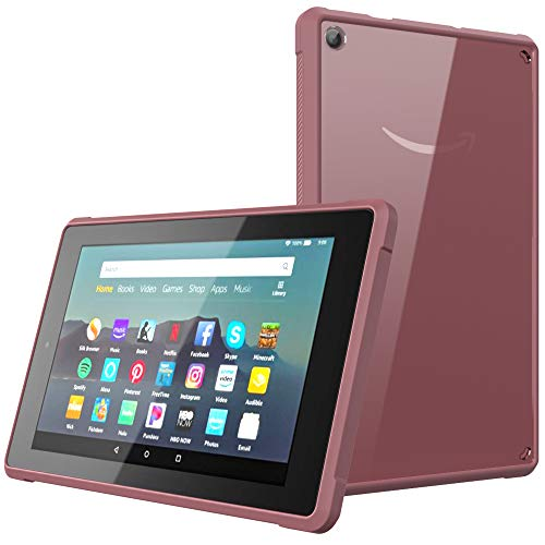 MoKo Case Fits All-New Amazon Kindle Fire 7 Tablet (9th Generation, 2019 Release), Ultra Soft Flexible Transparent TPU Acrylic Skin Bumper Edge Protection Shockproof Back Cover Shell - Plum