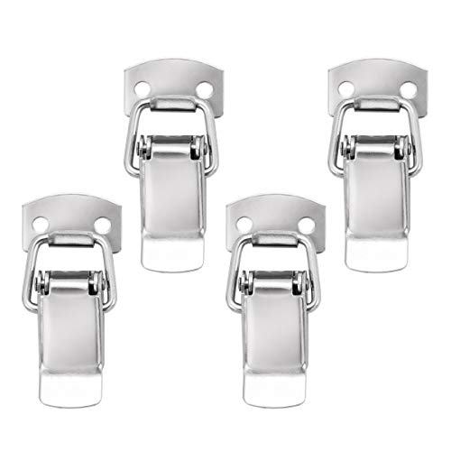 POWERTEC 21109 Stainless Steel Spring Loaded Chest Latch with Catch Plate, 1-3/4-Inch, 4-Pack