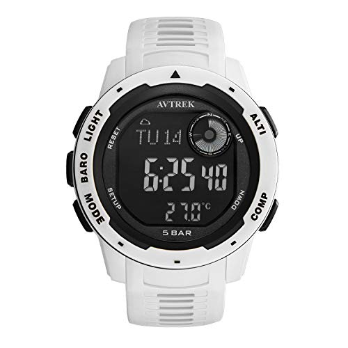 AVTREK Compass Watch,Pedometer Calorie Watch,Altimeter Barometer Thermometer Temperature, Fashion Cool Military Army Waterproof Outdoors Sport Digital Mountaineering Watch for Men and Women (Grey)