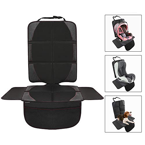 mit Anti-Rutsch Funktion Autositzschoner Autositzauflage Sitzschutz Schwarz Ezilif Kindersitzunterlage 2 St/ück ISOFIX geeignete Sitzschoner Auto Kindersitz