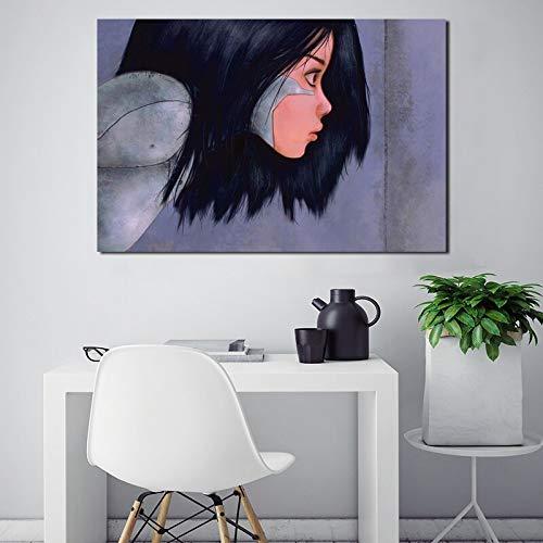 wojinbao Pas de Cadre Alita Battle Angel 4 k Film Papier Peint HD Toile Affiche Imprimer Wall Art Peinture à l'huile Peinture décorative Moderne décoration de la Maison 50x70cm
