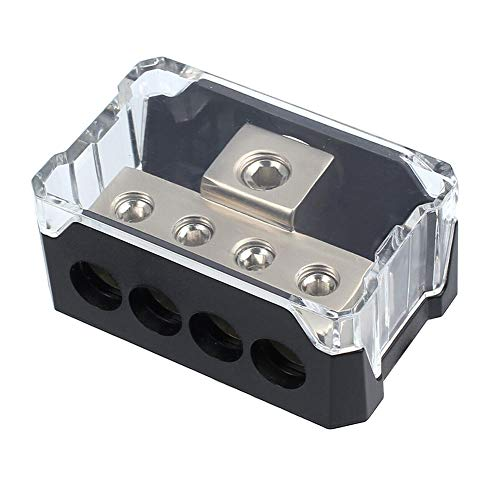 Power Distribution Block, Auto Car Audio Amplifier 1 in 4 Ways 0/2/4 Gauge in 4/8/10 Gauge Out Fuse Holder Circuit Protector Distribution Connecting Blocks