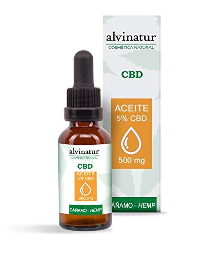Alvinatur - Aceite 5% CBD 10ml, Con cáñamo, Ingredientes naturales, Con aceites esenciales, Mezclar con crema u otros productos cosméticos y aplicar masajeando, Botella con dosificador