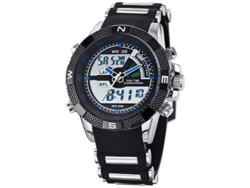 CursOnline Elegante reloj de pulsera para hombre WH-1104R con doble horario digital y analógico, LED y cuarzo, correa de caucho suave, resistente al agua, luz LED, alarma y fecha. Color azul.
