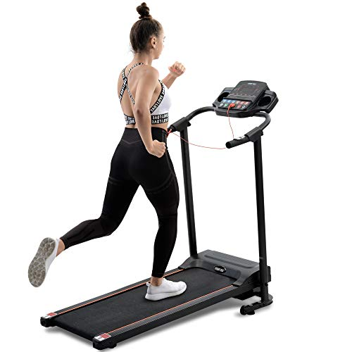 Laufband für Zuhause Verstaubar, Laufband Klappbar Elektromotorisiertes, leise für Fitness bis 12 km/h, Laufgurt 40.5 * 110 cm, max 100kg, LCD-Display (Schwarz-LED-Anzeige-Lauffläche (35 × 110 cm))