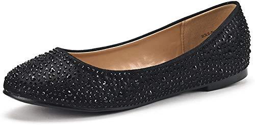 DREAM PAIRS Women's Sole-Shine Black Rhinestone Ballet Flats Shoes - 9 M US