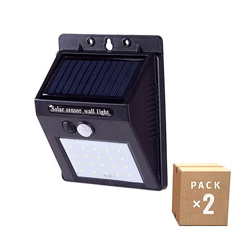 Greenice | Pack x2 Aplique de Pared Solar | Aplique Pared Exterior | IP65 20xLED SMD Sensor Luz + Movimiento