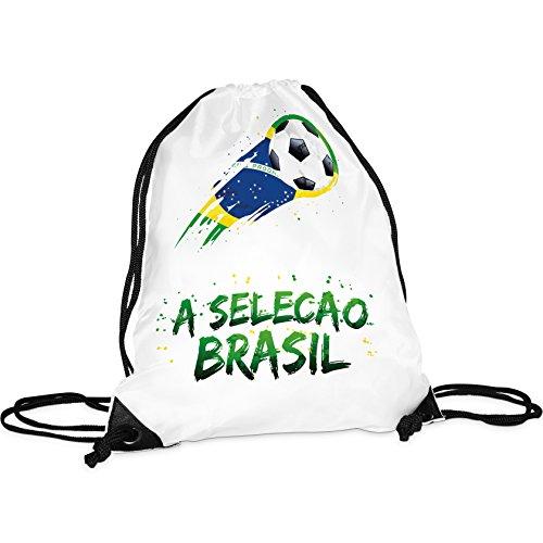 Tassendruck WM-Turnbeutel Brasilien/Rucksack/Hipster/Gym-Bag/Sport-Beutel/Fussball/Fahne/Flagge/Länderfarben/Beste Qualität - 25 Jahre Erfahrung