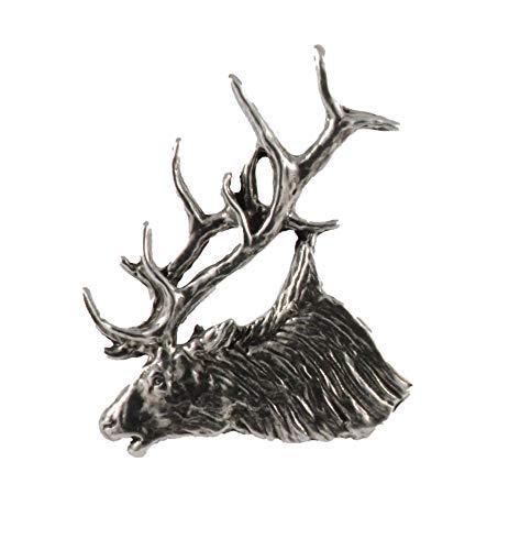 Elk Head Bugling Mammal Pewter Lapel Pin, Brooch, Jewelry, M001