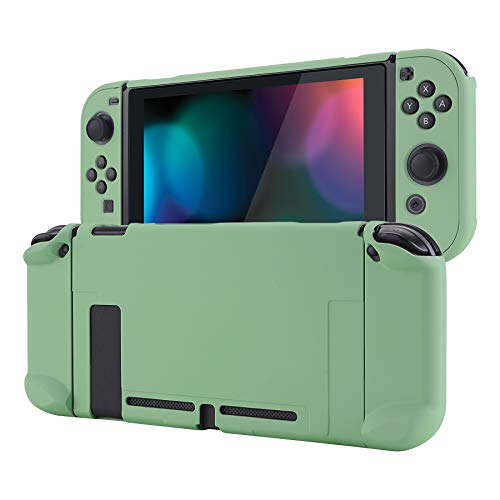eXtremeRate PlayVital Back Cover for Nintendo Switch Console, NS Joycon Handheld Controller Separable Protector Hard Shell, Customized Dockable Protective Case for Nintendo Switch - Matcha Green