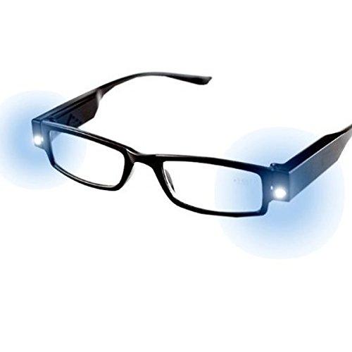 Milya Unisex Lesebrille Presbyopie Brille Sehhilfe Lesehilfe mit Licht Schwarz +2,5
