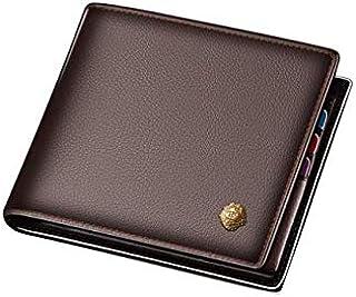 محفظة اعمال انيقة مصنوعة من الجلد الاصلي للرجال لتخزين البطاقات والنقود بمشبك، لون بني