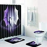 MQWEMJ 4-teiliges Duschvorhang-Set, Schwarzer weißer lila Drache für Badezimmer, rutschfest, WC-Vorleger + WC-Deckelbezug + Badematte + Duschvorhang mit 12 Haken 180×180 cm